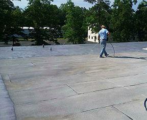 Applying roofing foam