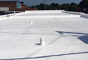 Fabric reinforced roof coating